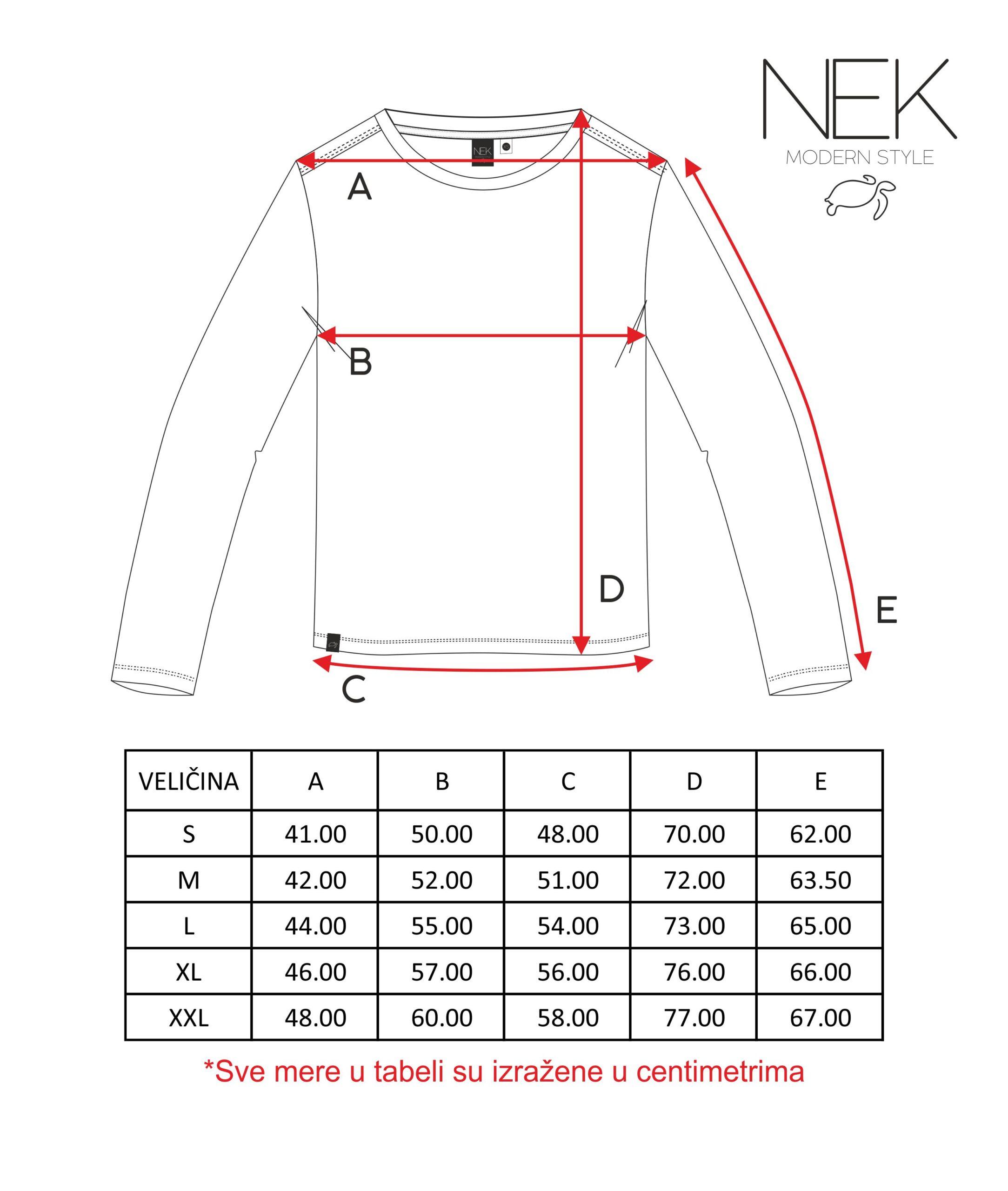 tabele mera za musku majicu