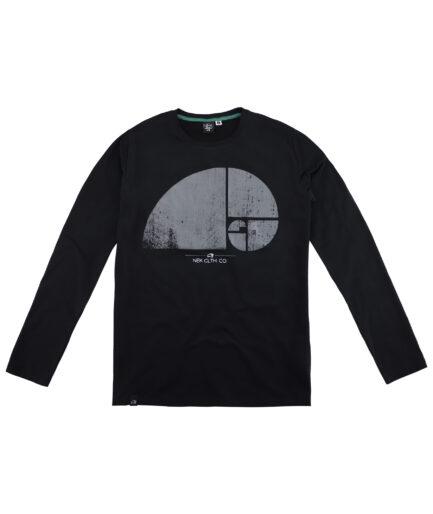crna muska majica dugih rukava sa stampom
